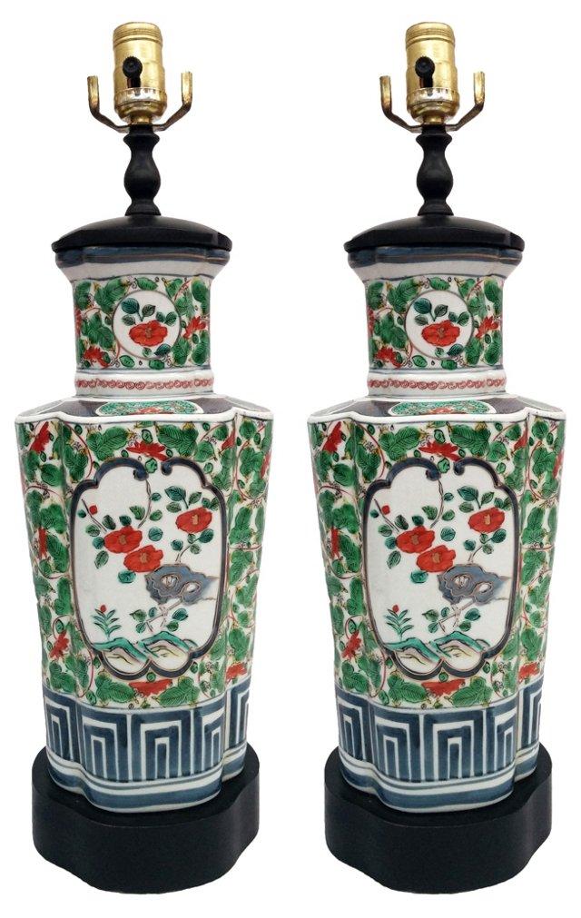 Ceramic Lamps w/ Asian Motif, Pair