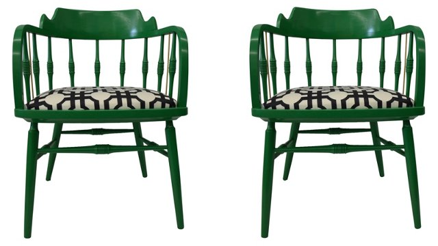 Drexel Heritage Barrel Chairs,  Pair