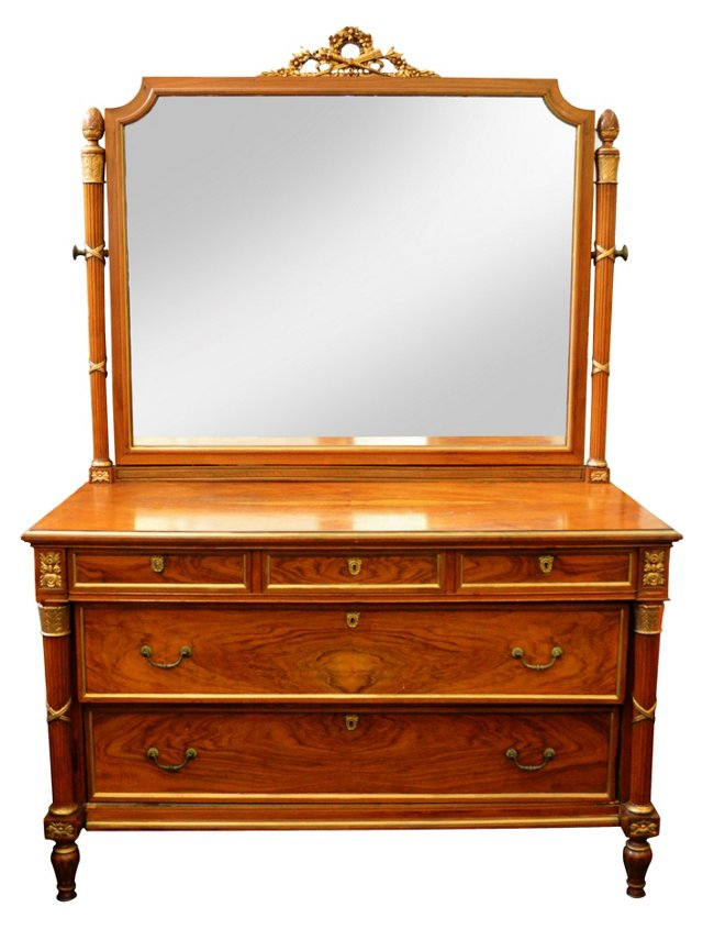 Neoclassical-Style Dresser w/ Mirror