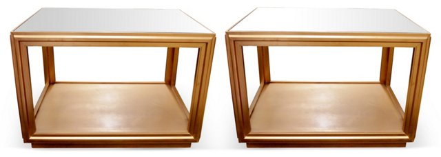Mirror-Top End Tables, Pair