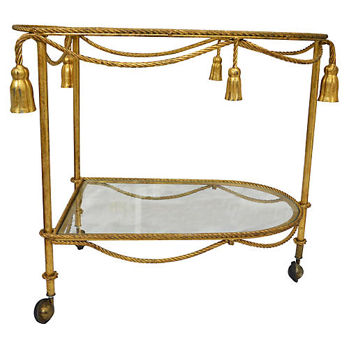 Rope & Tassel-Motif Tea Cart