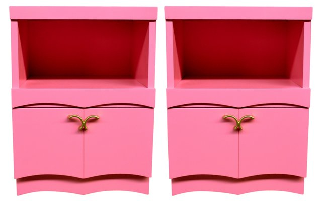 Pink  Lacquered Nightstands, Pair