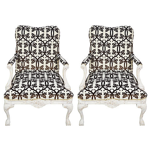 French-Style Fauteuil Armchairs, Pair