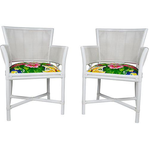 Ficks Reed D. Draper Garden Chairs, Pair
