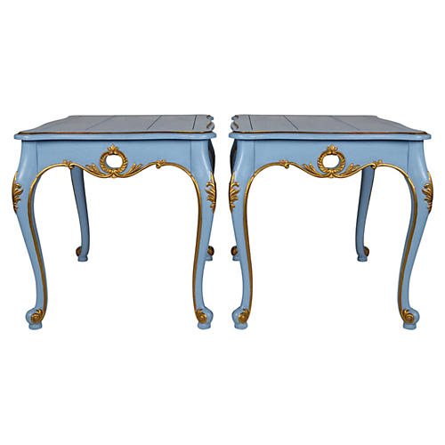 French-Style Painted Side Tables, Pair