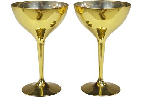 Goldtone Goblets, Pair