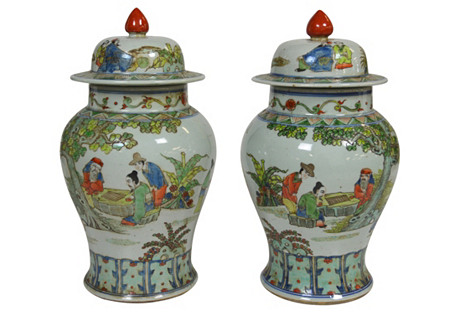 Oriental Ginger Jars, Pair