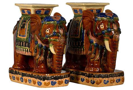 Ceramic Elephant Stools, Pair