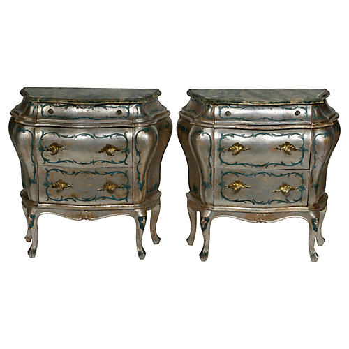 Italian-Style Hand-Painted Commodes, Pr