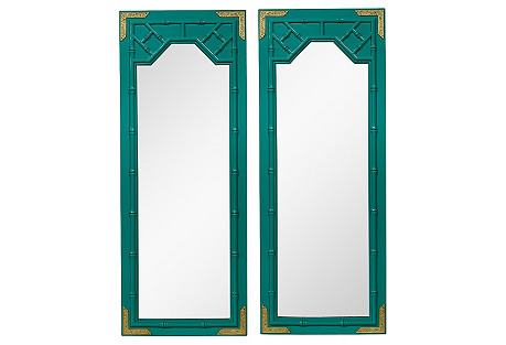 Asian Faux-Bamboo Mirrors, Pair