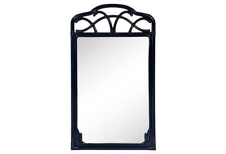 Navy Bamboo- Style Mirror