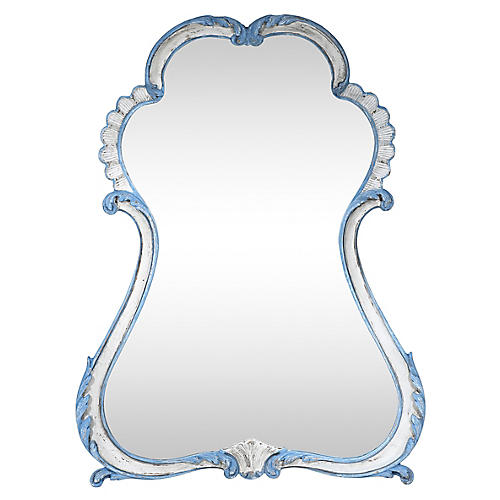 LaBarge French-Style Blue & White Mirror
