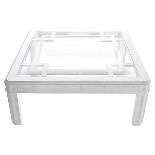 White Chippendale-Style Coffee Table