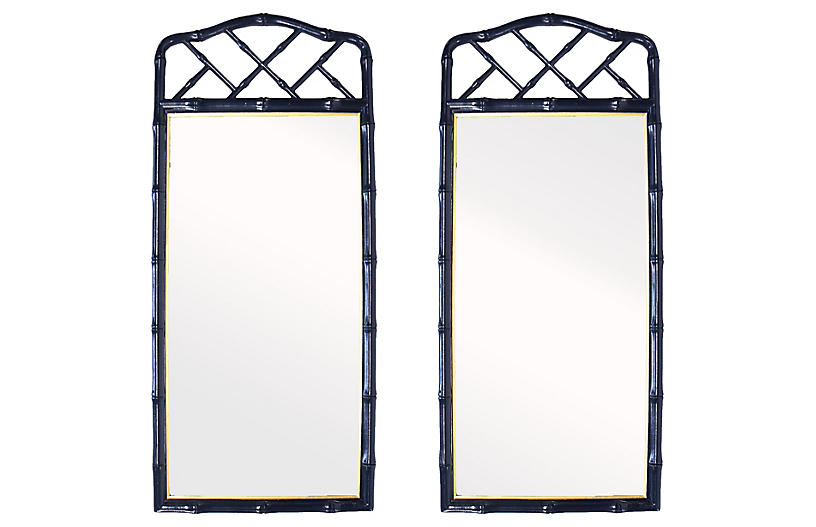 Henredon Faux-Bamboo Mirrors, Pair