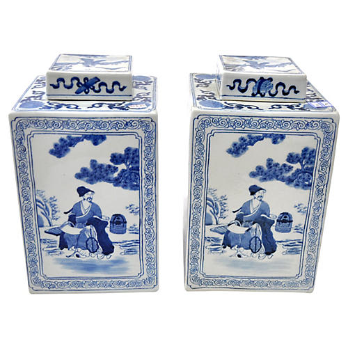 Blue & White Scenic Jars, Pair
