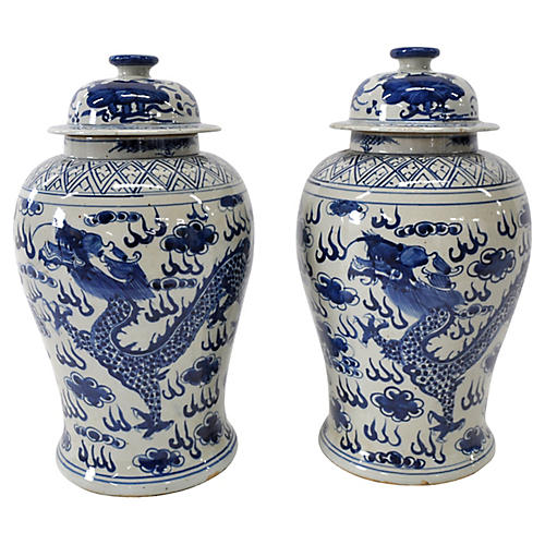 Blue & White Dragon Jars, Pair