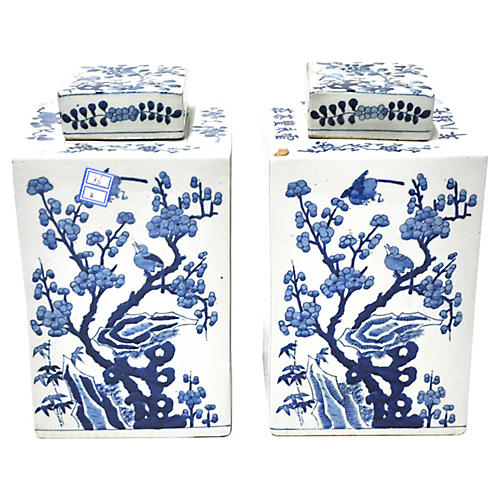 Blue & White Tea Canisters, Pair