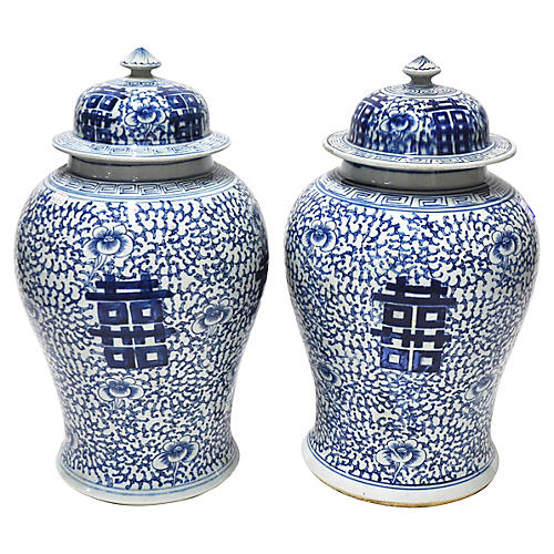 Blue & White Double Happiness Jars, Pair