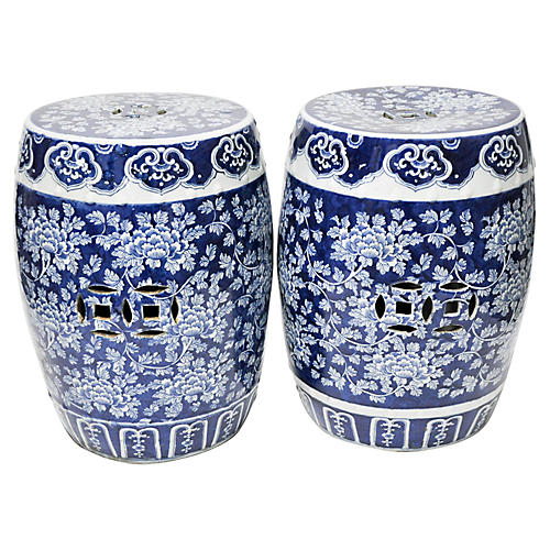 Pair of Blue & White Garden Stools