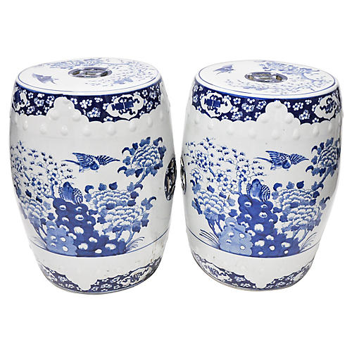 Pair of Blue & White Chinoiserie Stools