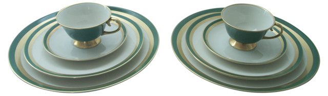 Green & Gold 4-Piece Settings, Pair