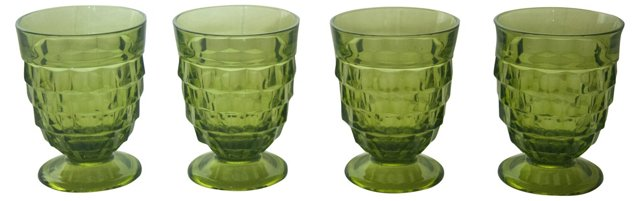 Green Pressed Glass Goblets, S/4