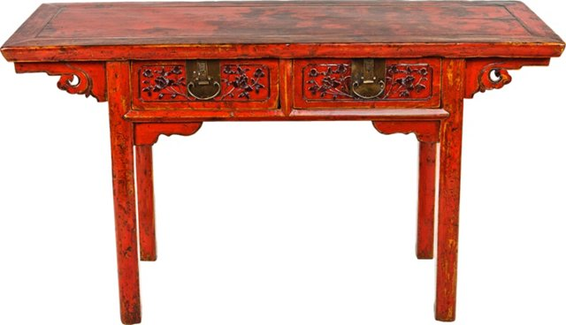 Red Carved Table
