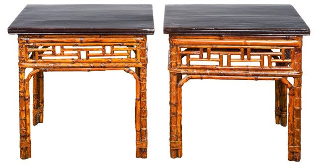 19th-C. Chinese Bamboo End Tables, Pair