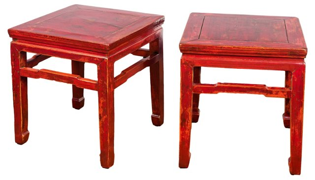 Antique Dark Red Side Tables, Pair