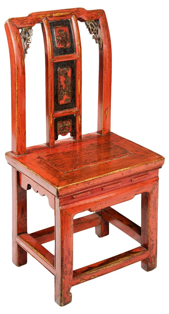 19th-C. Red Chinese Wedding Chair