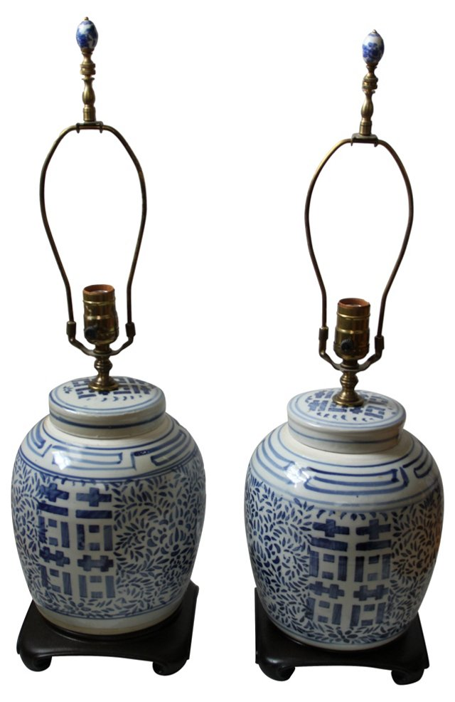 Double Happiness Ginger Jar Lamps, Pair