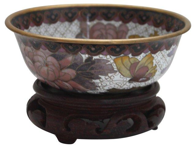 Cloisonné Floral Bowl w/ Stand