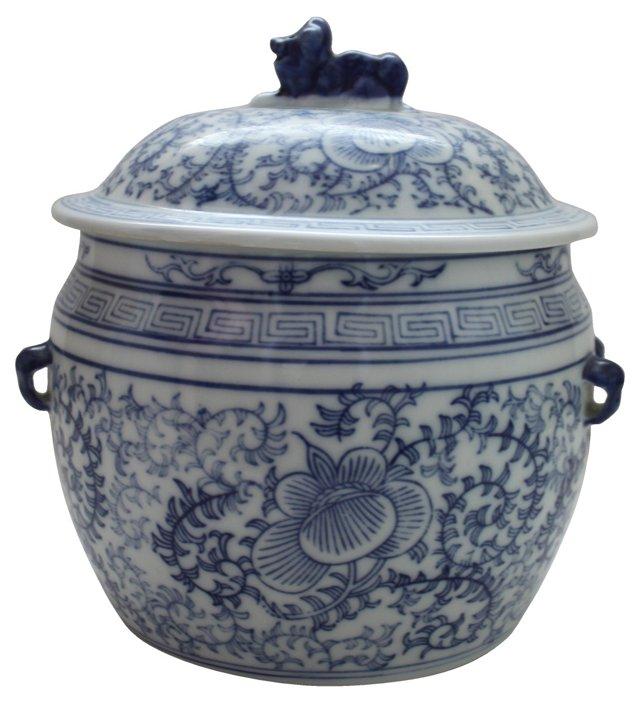 Blue & White Foo Dog  Jar