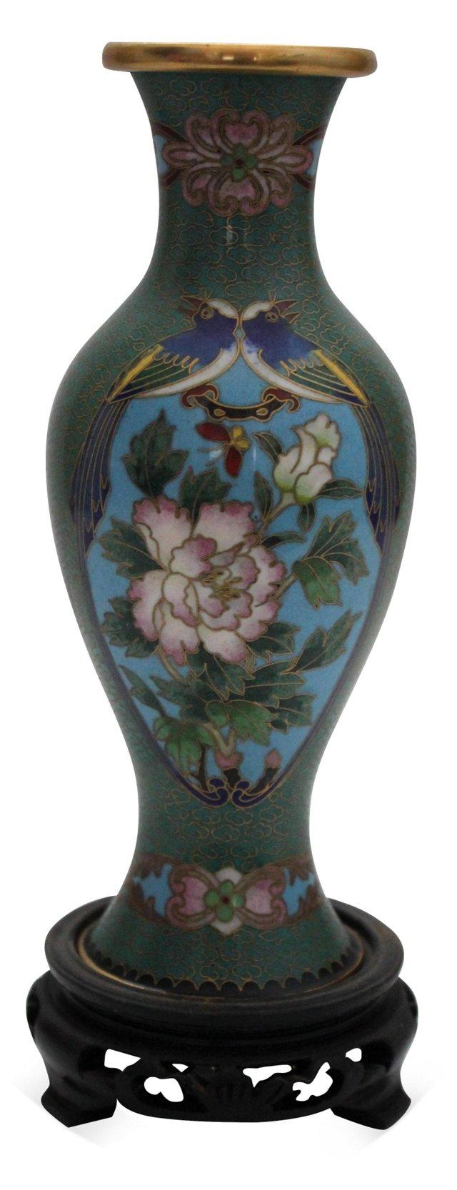 Cloisonné Bird Vase w/ Stand
