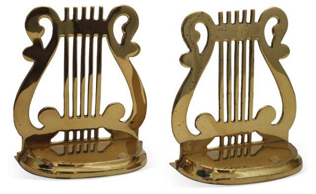 Brass Harp Bookends