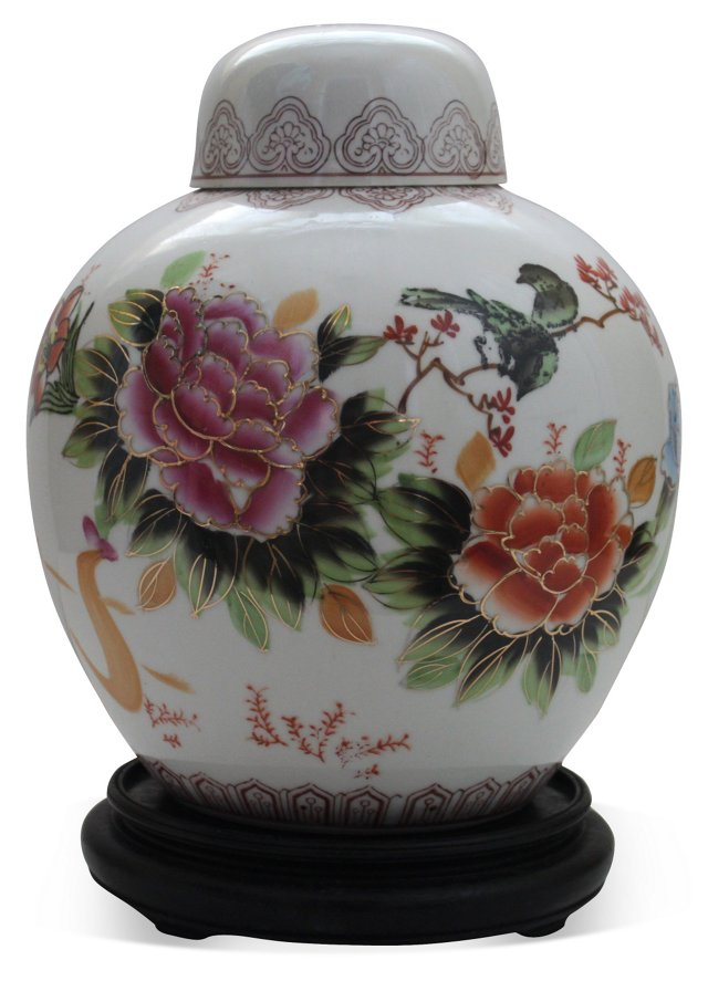 Birds & Flower Ginger Jar w/ Stand