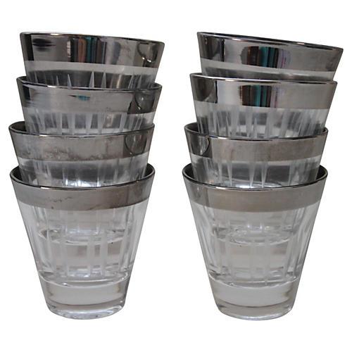 Silver-Rimmed Shot Glasses, S/8