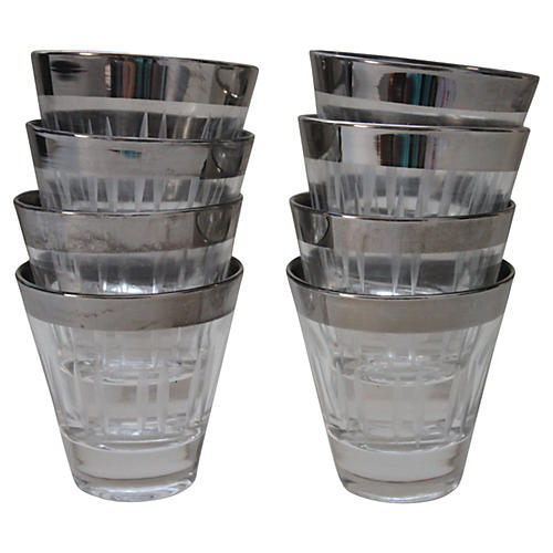 Silver-Rimmed Shot Glasses, S/8
