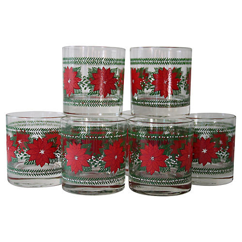Poinsettia Lowball Glasses, S/8