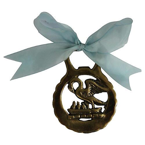 Vintage Brass Swan Ornament