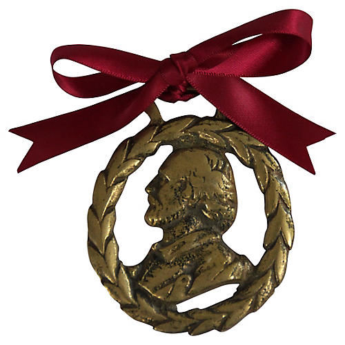 Vintage Brass Shakespeare Ornament