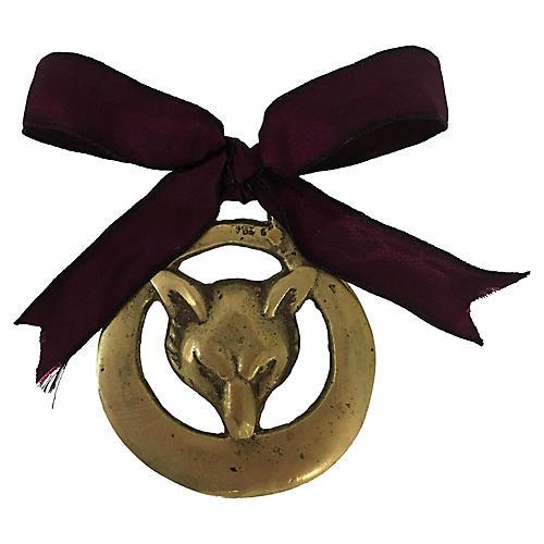 Antique English Brass Fox Ornament
