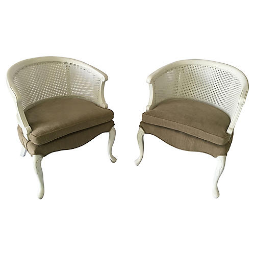 French Barrel Back Cane Chairs - Pair