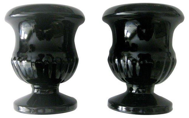 Black Glass Urns, Pair