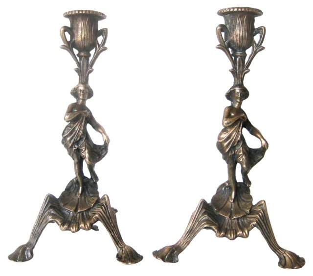 Bronze Art Nouveau Candlesticks, Pair