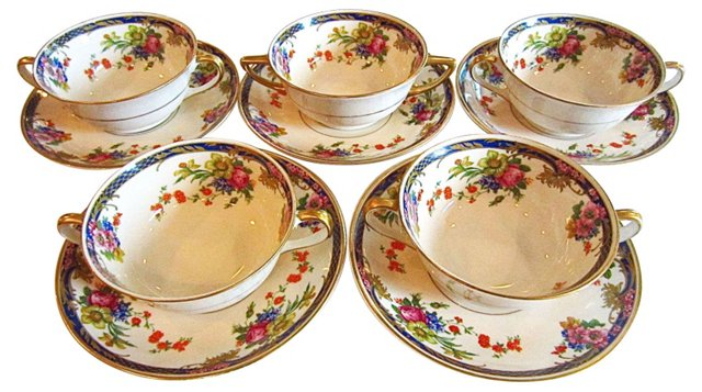 Soup Cups and Saucers, S/5