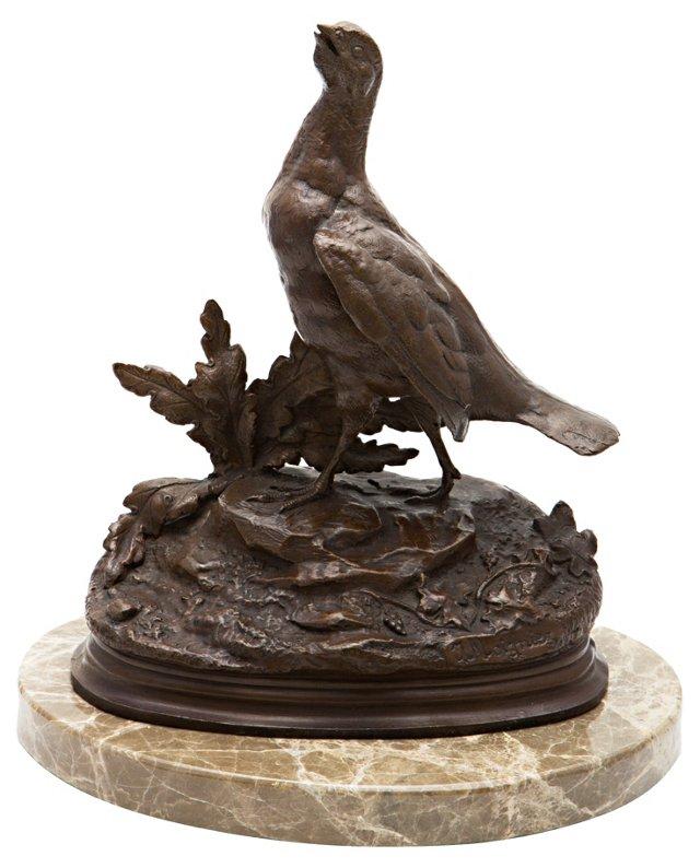 Bird Bronze on Marble Stand