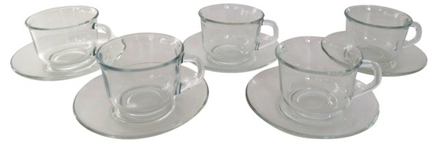 French Glass Coffee Cups & Saucers, S/5
