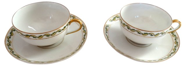 Limoges Cup & Saucers, S/2