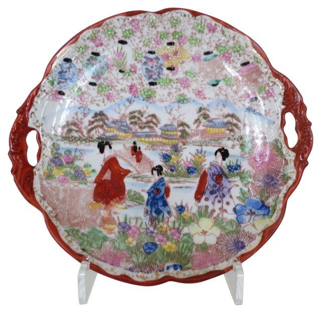 Antique Kutani Geisha Platter